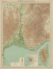 South-east France. Provence Rhone Alpes Languedoc Marseille. THE TIMES 1922 map