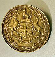 1854 Hudson Bay Company Canada Brass 1/2 One-Half Made Beaver Token (Clip)