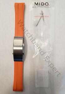 Original MIDO Ocean Star M026430A Orange Rubber Watch Band Strap Titanium Buckle