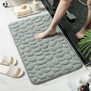 Memory Foam Pebble Design Bath Mat Set Non Slip Pedestal Toilet Bathroom
