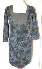 FAT FACE UK8 EU36 GREEN/PURPLE STRETCH TUNIC IN 100% COTTON WITH 3/4 SLEEVES