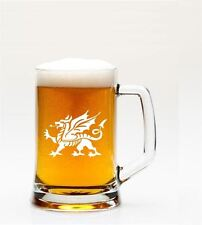 1 English Pint Glass Tankard With Welsh Dragon Design