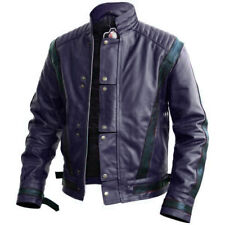 Handmade Men Michael Jackson Style Blue Leather Fashion Jacket, Men Biker Jacket
