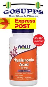 Now Foods Hyaluronic Acid 50 mg with MSN 60 Veg Capsules Joint Support FREE EXP