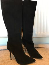 Dune Black Knee High Suede Boots Size 38