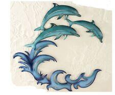 Beach Theme Decor Metal Wall Art Dolphins Ocean Waves Blue Fish Outdoor/Indoor