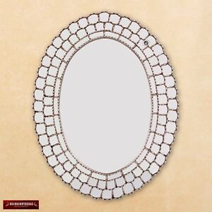"Large Oval Mirror style Cuzcaja 36x28"", Silver Decorative wall mirrors from Peru"