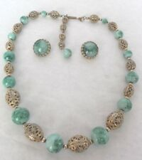 Vintage Napier peking glass and filigree beaded necklace and clip earrings set