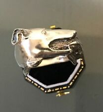 SILVER Men's Detailed DOG/RABBIT Style Ring Size X Weight 15.4g