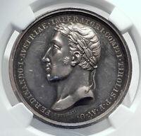 1838 AUSTRIA Innsbruck Tribute of Tyrol FERDINAND I Silver Medal NGC i81604
