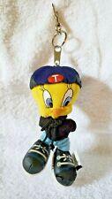 "1999 Warner Bros Hip Hop Tweety Bird 5"" Plush Toy Zip Top Key Chain & Clasp"