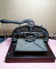 ANTIQUE 19TH C CAST IRON ORNATE PRESS BOOK BINDING MAHOGANY BASE