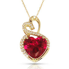 4.20CT Halo Ruby Double Heart Gemstone Pendant & Necklace14K Yellow Gold