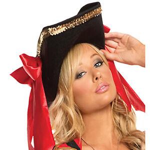 Pirate Hat Sequin Gold Trim Red Satin Bows Buccaneer Swashbuckler Costume 9678H