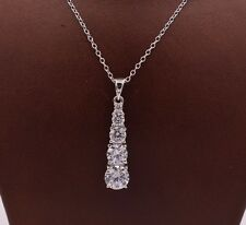 5-stone Graduated Round CZ Pendant Necklace Chain Real Sterling Silver 925 18""