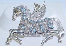 GENUINE! 4.95ctw Sky Blue Topaz, Pegasus Brooch, Solid Sterling Silver 925!