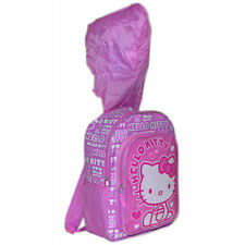 "16"" BACKPACK with Rain Hood 2in1 SANRIO HELLO KITTY Kids Large School Book Bag"