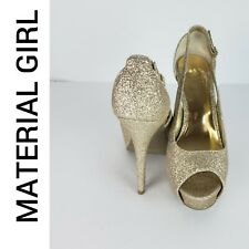 Material Girl Women's Gold Glitz Stiletto Heels Peep Toe Size 8M