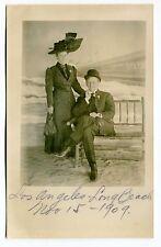1909 Real Photo Postcard Souvenir: Elegant Couple - L.A./LONG BEACH [Calif]