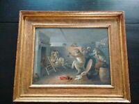 Rare tableau Singerie huile panneau acajou XVIII-XIXème siècle querelle singes