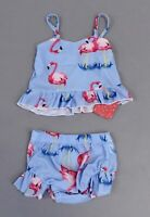 PatPat Girl's Flamingo Print Top and Ruffled Bottom Swimsuit Set SH3 Blue Size 3