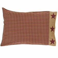 """Ninepatch Star Pillow Cases rustic Prim Cottage 21"""" x 30"""""""