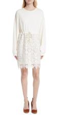 See By Chloe Womens Snow White Lace Skirt Sweatshirt Dress Sz S 3879