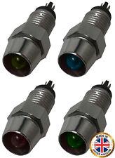 (4) 12V Amber Red Blue Green LED Lamp Dash Panel Indicator Light Assortment Kit