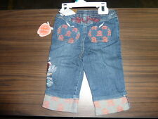 new Apple Bottoms Girls Denim Roll-up Capris 12 month yahmaha 35.00 jeans months