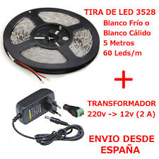 Kit Tira de Led 3528 Blanco Frio/Cálido 5m + Transformador 2A 60 Led/m Interior