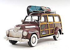 "1947 Chevrolet Suburban Woody Metal Car Model 14"" w/ Canoe Automobile Decor New"