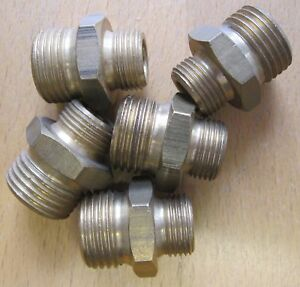 "Set of 5 Norgren 3/8""BSP -1/2""BSP Brass Adaptor Fitting 38001006"