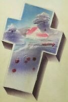 Easter Greetings Fabric Silk Cross w Raised Farm Images Postcard Unposted 1910