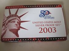 2003 United States Mint Silver Proof Set/with box and COA  Matte Proof coins