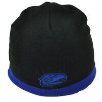 NCAA Kansas Jayhawks Black Blue Knit Beanie Cuffless 2 Tone KU Winter Skully