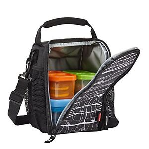 Insulate Lunch Bag Box Food Storage Container Travel Carry Black Light Small Kid