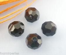 100 Perles Verre Crystal Facette Noir Boule 6mm