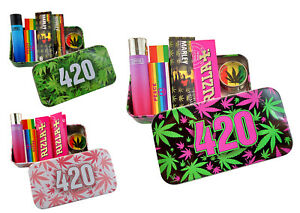 Metal Tobacco Tin Stash Storage Rolling Papers Clipper Lighter Grinder Tips Set