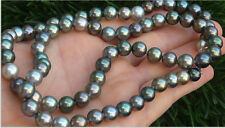 9-10 mm natural tahitian gray green multicolor pearl necklace 20 inch 14K CLASP