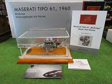 MOTEUR MASERATI BIRDCAGE TYPE 61 avec vitrine au 1/18 CMC M126 moteur miniature