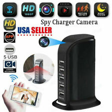 1080P WIFI Socket Charger Hidden Camera Video Recorder 5 USB Nanny Cam DVR US