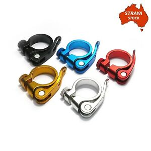 Bicycle Seat Post Clamp - Alloy Quick Release -5 Colours- 31.8mm Bike -AU STOCK-
