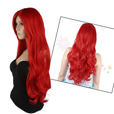 """32"""" 80cm Long Heat Resistant Big Wavy Curly Red Cosplay Full Hair Wig for Women"""