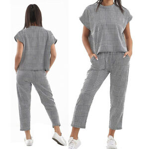 Womens Girls Boxy Lounge Wear Short Sleeve Tracksuit Set Casual Comfy Two Piece