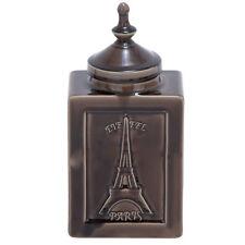 """Urban Designs Eiffel Paris 14"""" Decorative Ceramic Accent Jar - Cracked Brown"""