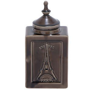 "Urban Designs Eiffel Paris 14"" Decorative Ceramic Accent Jar - Cracked Brown"