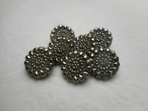 """7 Matching Black Glass Silver Luster Antique Buttons 7/16"""" RS #2"""