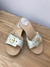 Scholl sandals size 5 Pale Green holiday wooden 38