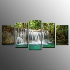 FRAMED Wall Canvas Art Small Waterfall Museum Quality Canvas Painting Print-5pcs