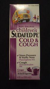 Non-Drowsy Children's Sudafed PE Cold & Cough 4 Oz Grape Alcohol & Sugar Free